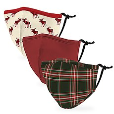 Variety 3-Pack Kid's Reusable, Washable 3 Ply Cloth Face Masks with Filter Pockets - Plaid