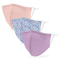 Variety 3-Pack Kid's Reusable, Washable 3 Ply Cloth Face Masks with Filter Pockets - Mermaid Chic
