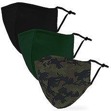 Variety 3-Pack Adult Reusable, Washable 3 Ply Cloth Face Masks with Filter Pockets - Camo