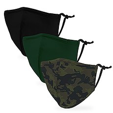 Variety 3-Pack Kid's Reusable, Washable 3 Ply Cloth Face Masks with Filter Pockets - Camo
