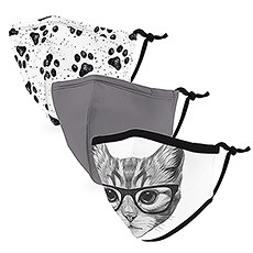 Variety 3-Pack Kid's Reusable, Washable 3 Ply Cloth Face Masks with Filter Pockets - Cat Lovers