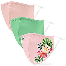 Variety 3-Pack Adult Reusable, Washable 3 Ply Cloth Face Masks with Filter Pockets - Tropical