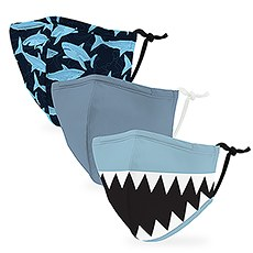 Variety 3-Pack Kid's Reusable, Washable 3 Ply Cloth Face Masks with Filter Pockets - Shark