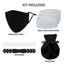 Adult Reusable, Washable 3 Ply Cloth Face Mask 5-Piece Starter Kit - Black