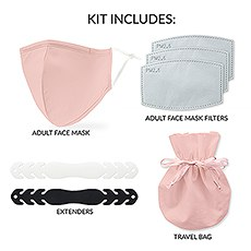 Adult Reusable, Washable 3 Ply Cloth Face Mask 5-Piece Starter Kit - Blush Pink