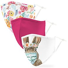 Variety 3-Pack Adult Reusable, Washable 3 Ply Cloth Face Masks with Filter Pockets - Floral Bunny