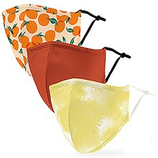 Variety 3-Pack Adult Reusable, Washable 3 Ply Cloth Face Masks with Filter Pockets - Citrus