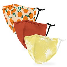Variety 3-Pack Kid's Reusable, Washable 3 Ply Cloth Face Masks with Filter Pockets - Citrus