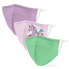 Variety 3-Pack Kid's Reusable, Washable 3 Ply Cloth Face Masks with Filter Pockets - Unicorn Fantasy