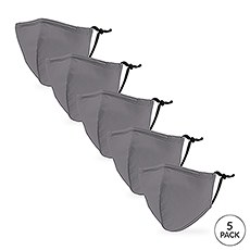 5-Pack Kid's Reusable, Washable 3 Ply Cloth Face Masks with Filter Pockets - Grey