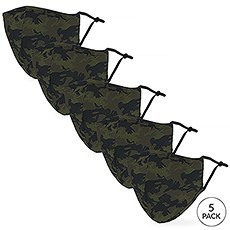5-Pack Adult Reusable, Washable 3 Ply Party Themed Cloth Face Masks with Filter Pockets - Camo