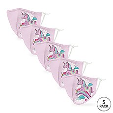 5-Pack Kids Reusable, Washable 3 Ply Party Themed Cloth Face Masks with Filter Pockets - Unicorn