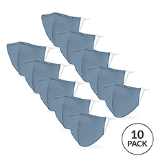 10-Pack Kid's Reusable, Washable 3 Ply Cloth Face Masks with Filter Pockets - Light Blue