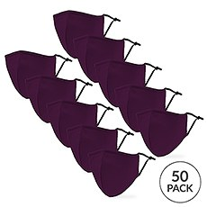 50-Pack Adult Reusable, Washable 3 Ply Cloth Face Masks with Filter Pockets - Dark Purple