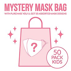 Variety 50-Pack Kid's Reusable, Washable 3 Ply Cloth Face Masks With Filter Pockets - Mystery Pack