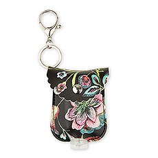 Faux Leather Hand Sanitizer Holder Keychain - Floral