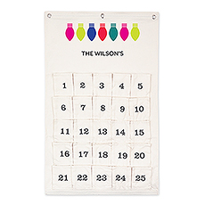 Personalized Reusable 25 Days of Christmas Fabric Advent Calendar - String Lights