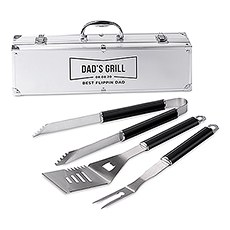 Custom Stainless Steel BBQ Tools Grill Set - Sans Serif Emblem