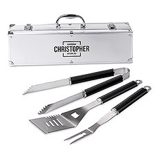 Custom Stainless Steel BBQ Tools Grill Set - Groom Square Emblem