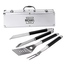 Custom Stainless Steel BBQ Tools Grill Set - Groomsman Square Emblem