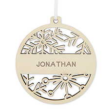 Personalized Wooden Snowflake Bauble Christmas Tree Ornament - Last Name
