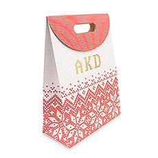 Personalized Knit Sweater Snowflake Paper Gift Bag with Handles - Stitch Monogram