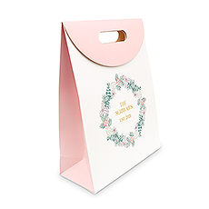 Personalized Blush Pink Paper Gift Bag with Handles - Blush Wreath