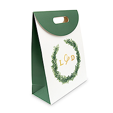 Personalized Greenery Wreath Paper Gift Bag with Handles - Love Wreath Initial