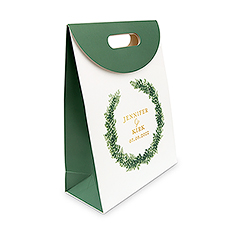 Personalized Greenery Wreath Paper Gift Bag with Handles - Love Wreath Couple