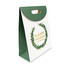 Personalized Greenery Wreath Paper Gift Bag with Handles - Happy Holidays