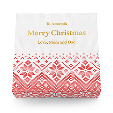 Large Personalized Knit Sweater Snowflakes Christmas Gift Box with Magnetic Lid - Custom Text