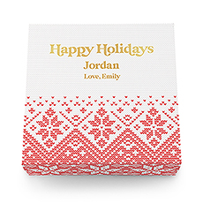 Large Personalized Knit Sweater Snowflakes Christmas Gift Box with Magnetic Lid - Happy Holidays