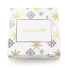 Large Personalized Falling Snowflakes Christmas Gift Box with Magnetic Lid - Merry Midnight