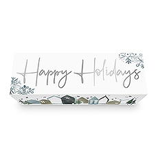 Christmas Wine Bottle Gift Box with Magnetic Lid - Happy Holidays