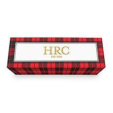Buffalo Plaid Personalized Wine Gift Box with Magnetic Lid - Monogram