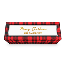 Buffalo Plaid Personalized Wine Gift Box with Magnetic Lid - Merry Christmas