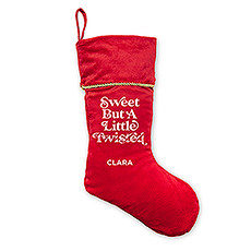 Custom Printed Plush Traditional Christmas Stocking - Sweet but a Little Twisted
