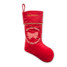 Custom Embroidered Plush Christmas Stockings - Don't Open Until Christmas