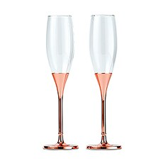 Rose Gold Champagne Glasses with Rhinestone Crystals