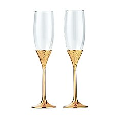 Gold Shimmer Wedding Champagne Glasses