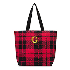 Extra-Large Personalized Cotton Fabric Canvas Tote Bag - Buffalo Plaid