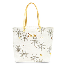 Extra-Large Personalized Velvet Tote Bag - Falling Snowflakes
