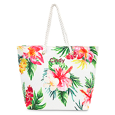Extra-Large Personalized Cotton Fabric Canvas Tote Bag - Tropical Floral