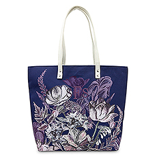 Extra-Large Personalized Cotton Fabric Canvas Tote Bag - Botanicals