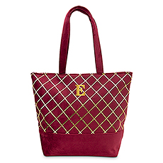 Extra-Large Personalized Velvet Tote Bag - Port Red Diamonds