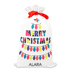 Large Personalized Drawstring Santa Sack for Gifts - Merry Christmas