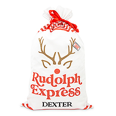 Large Personalized Drawstring Santa Sack for Gifts - Rudolph Express