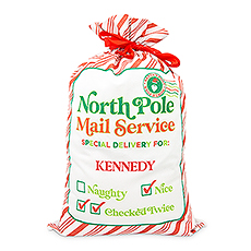 Large Personalized Drawstring Santa Sack for Gifts - North Pole Delivery