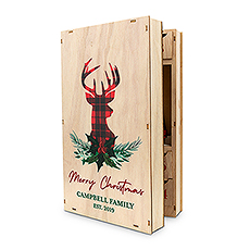 Personalized Reusable Plaid Stag Wooden Advent Drawer Christmas Calendar - Custom Script Text