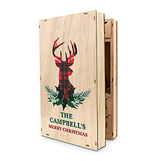 Personalized Reusable Plaid Stag Wooden Advent Drawer Christmas Calendar - Custom Text